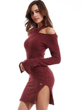Plain Flare Sleeves Hollow Sweater Dress
