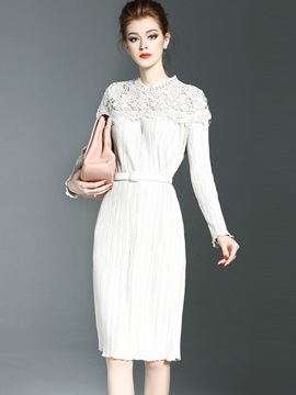Stand Collar Hollow Lace Work Dress