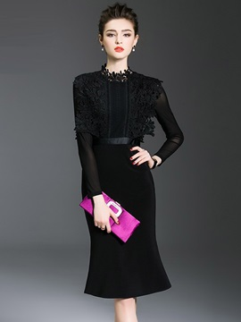 Stand Collar See-Through Lace Work Dress
