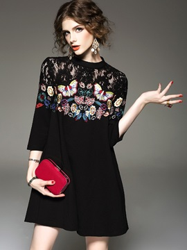 Floral Embroidery Lace Patchwork A-Line Dress