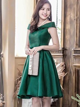 Solid Color Short Sleeve Party Dress