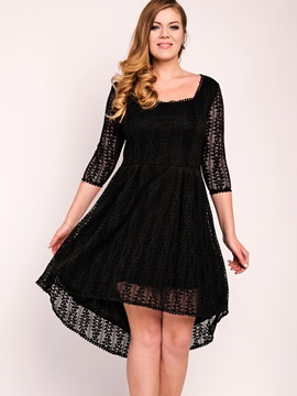 Black Long Sleeve Plus Size Lace Dress