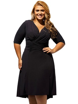Black V Neck Long Sleeve Skater Dress