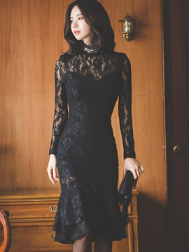 Solid Color Long Sleeve Lace Bodycon Dress