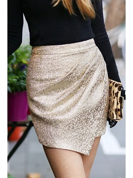 Golden Back-Zip Pleated Skirt
