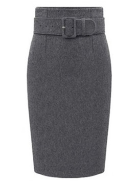 Solid Belt Slim Knee-Length Skirt