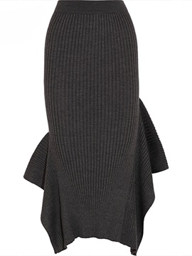 Asymmetric Solid Knee-Length Skirt