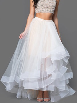 White Chiffon Pleated Falbala Skirt