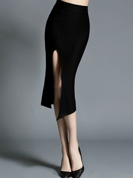 Black Placketing Sheath Skirt