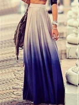Gradient Color Pleated Maxi Skirt