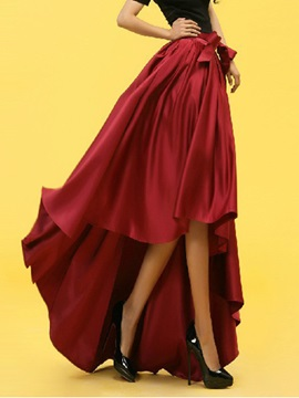 Bowknot Pleated Long Gown Skirt