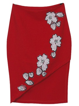 Floral Embroidery Patchwork Placketing Skirt