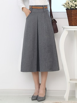 Solid Color Placketing Retro Skirt