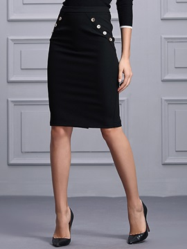 Buckle Rivet  Sheath Skirt