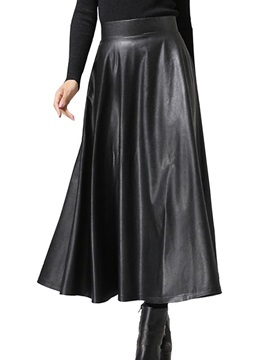 Black Leather Pleated Maxi Skirt