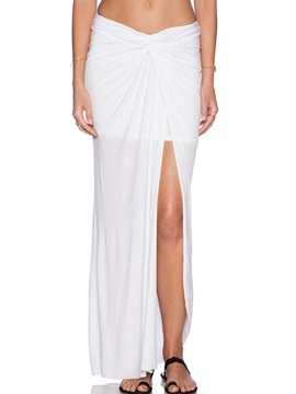 White Pleated Placketing Skirt