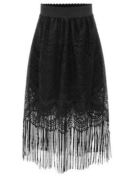 Black Lace Hollow Tassels Patchwork Skirt