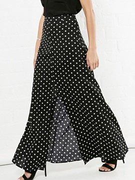 Dots Polka Printed Placketing Long Skirt
