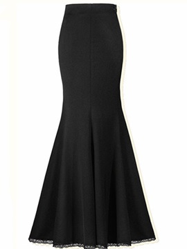 Black Fishtail Pleated Sheath Skirt