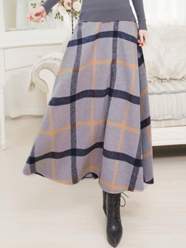 Plaid Print Maxi Skirt