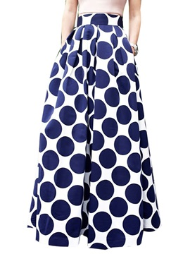Polka Dots Pleated Maxi Skirt