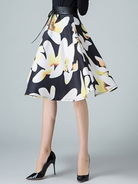 Floral Printing High Waist Pleated Skirt