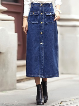 Buckle Rivet Patchwork Denim Skirt