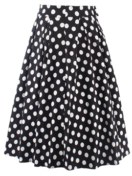 Dots Floral Printed A-Line Pleated Skirt