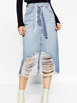 Denim Worn-Out Patchwork Lace-Up Skirt