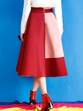 Color Block Print Pleated Skirt
