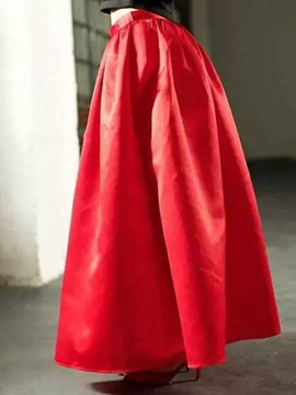 Vintage Pleated Solid Color Long Skirt