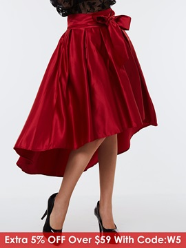 Red Pleated Bowknot Long Gown Skirt