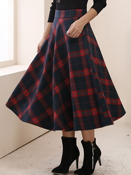 Plaid Printed High Waist Long Maxi Skirt