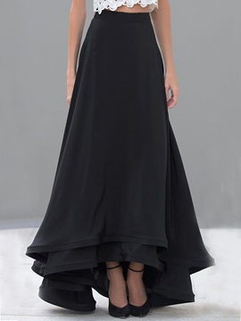 Black Pleated Falbala Long Maxi Skirt