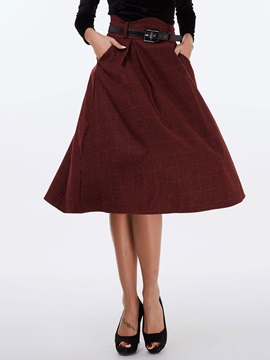 Solid Color Pleated High Waist Skirt