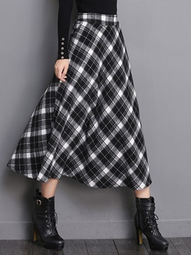 Simple Plaid Printed Long Retro Skirt