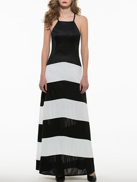 New Black And White Striped Backless Long Dress