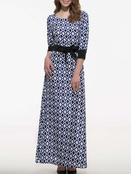 Plaid Maxi Dress with Belt