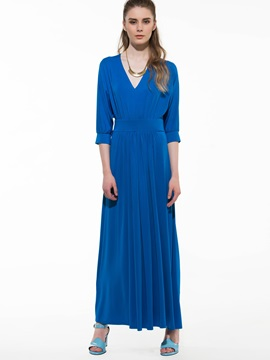 Solid V Empire Waist Half Sleeve Maxi Dress