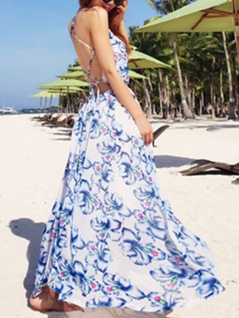 Backless Floral Print Sleeveless Maxi Dress