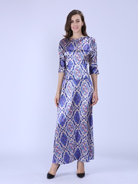 Chic 3/4 Sleeve Round Neck Print Maxi Dress