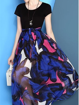 Printed short-sleeved fake two-piece dress
