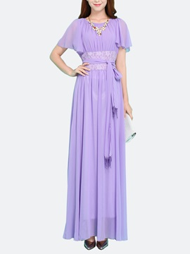 Solid Color Empire Waist Patchwork Maxi Dress