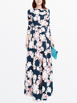 Floral Print 3/4 Sleeve Empire Waist Maxi Dress