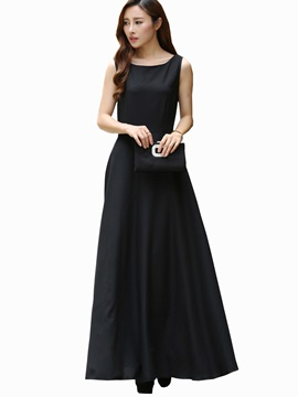 Solid Color Sleeveless Backless Maxi Dress