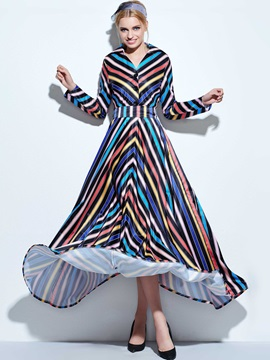 Lapel Stripe Empire Waist Bohemian Maxi Dress