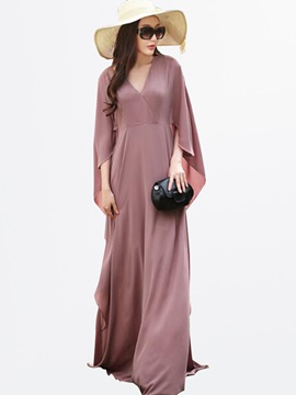 V-Neck Batwing Sleeve Maxi Dress