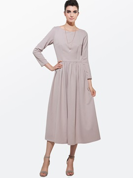 Plain Pleated A-Line Simple Maxi Dress