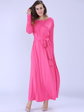 Solid Color Round Neck Lace-Up Maxi Dress