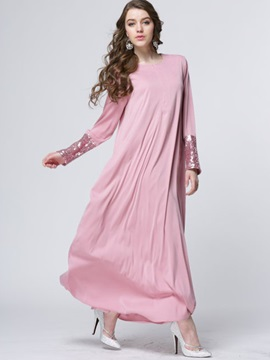 Solid Sequins Long Sleeve Ethnic Maxi Dress